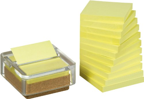 Post-it Recycling Z-Notes Spender - Kork/Glas-Spender inklusive 12 x R3301 Recycling Z-Notes gelb, 76 x 76 mm, 100 Blatt/Block