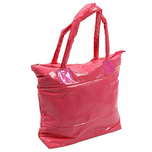 SODIAL(R) Caldo di vendita Prodotti semplice alla moda Pure spalle Colore Cotton Stripe Inverno della borsa-rosso rosa rossa
