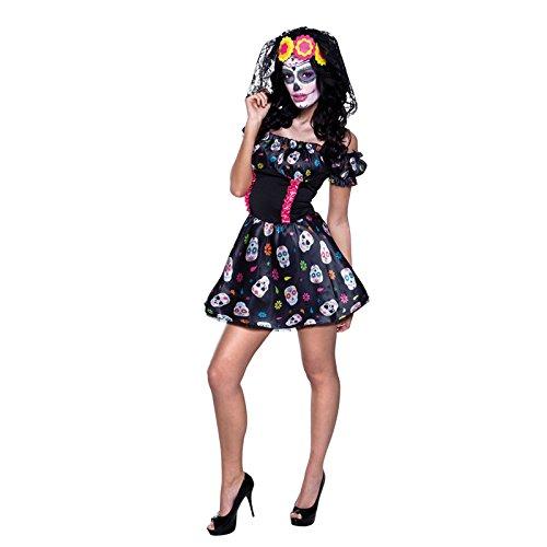(PARTY DISCOUNT Neu Damen-Kostüm Mrs. Day of The Dead, Gr. 36/38)
