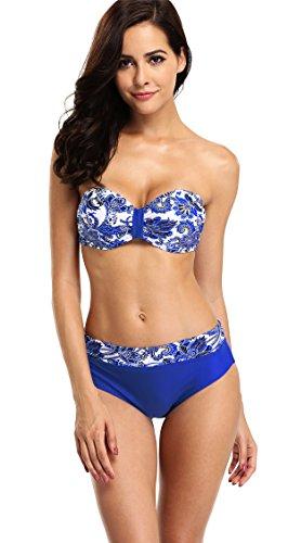Attraco Damen Bikini Set Mit Bügel Schalen Cups Triangel Bademode Push Up Bikini Blau