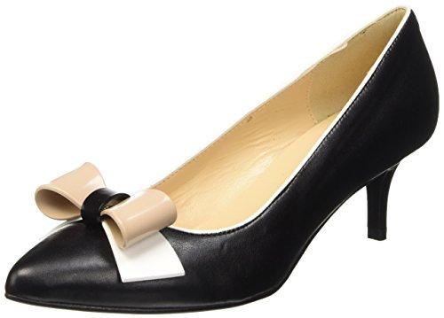 Pollini Sa10255c11tm, Chaussures avec Un Talon à Bout Fermé Femme Noir (Noir/Blanc/Nude)