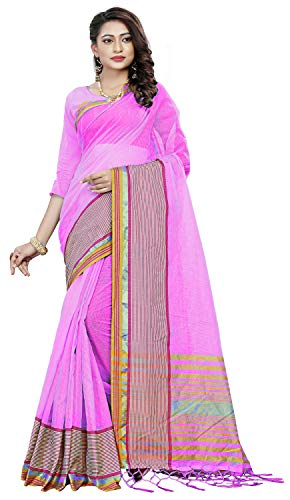 Flosive Women\'s cotton net Saree With Blouse Piece (nayan pink_Free Size)