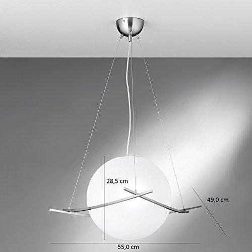 NEG Hängeleuchte UnoPalloni (28,5cm Kugel-Durchmesser) Deckenlampe aus Opalglas und Edelstahl - 7