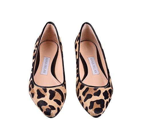ANNA MILAN Bailarinas De Piel De Potro En Animal Print de Leopardo/Cebra 38 EU, Leopardo-Negro