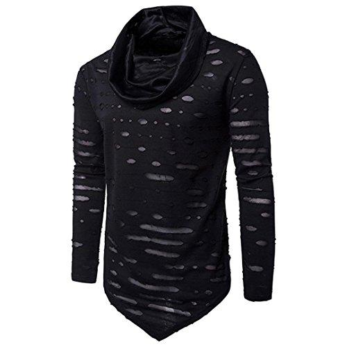 VENMO Männer Bluse Herbst Neue Herren Winter Warmes Spleissen Bluse Löcher Tops Unregelmäßige Jacke Männer Loch Hemd Fashion Solid Farbe Männliches Beiläufiges Langes Hülsen-Hemd (Black, XL) (Leinen-look-jacke)