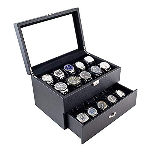 YIN QM Uhrengehäuse aus Glas mit Aufbewahrungsbox für 20 Uhren