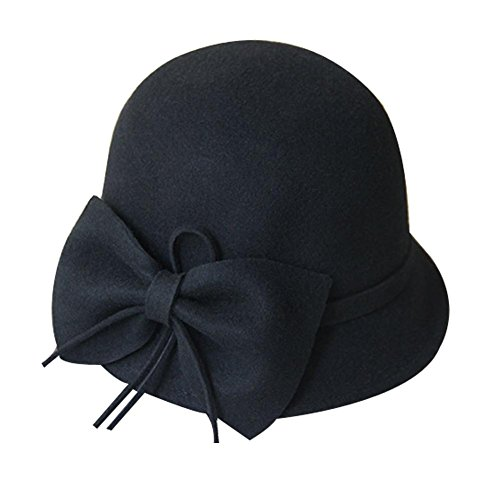 (Vintage Wollfilz Hut Roll Brim Bowler Hat Woolen Große Bowknot Billycock, Schwarz)