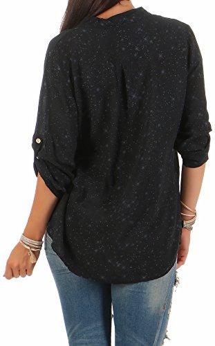 Zarmexx Feine Viskosebluse Hemdbluse Langarm - Fischerhemd Regular Fit Leichte Bluse Tunika Sternchen-Muster One Size Schwarz