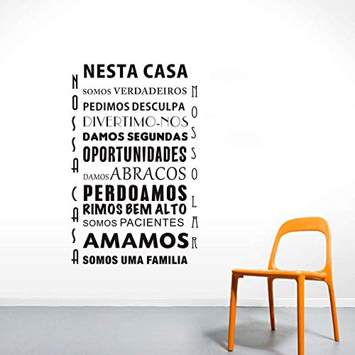 jiushizq In diesem Haus Aufkleber An Der Wand Portugiesischer Text Dekoration Für Wohnkultur Wandaufkleber PVC Abnehmbare Kunstwand 88 x 135 m