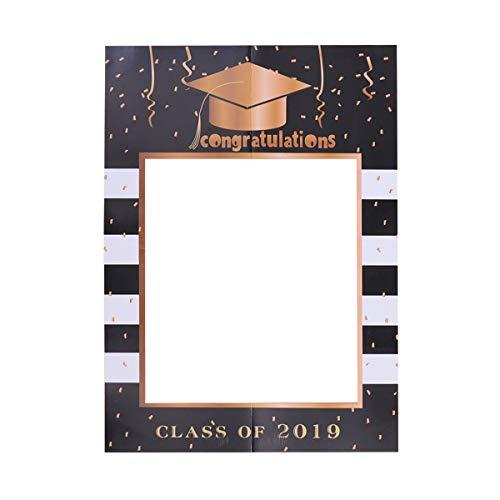 BESTOYARD Graduation Photo Frame 2019 Graduation Photo Booth Requisiten schwarz und Gold Klasse von 2019 Papier DIY Photo Frame für Abschluss Party Supplies
