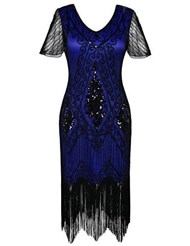 r Jahre Vintage Gatsby Kleid Ärmel inspiriert Perlen Pailletten Cocktail Flapper Kleid S Blau (Plus Size Flapper Kostüme)