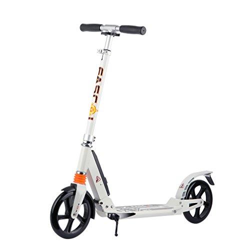 Fascol Roller Erwachsene Big wheel Scooter mit Bremse Teenager Cityroller Tretroller Kickroller Leuchtende Räder bis 100kg,Weiß
