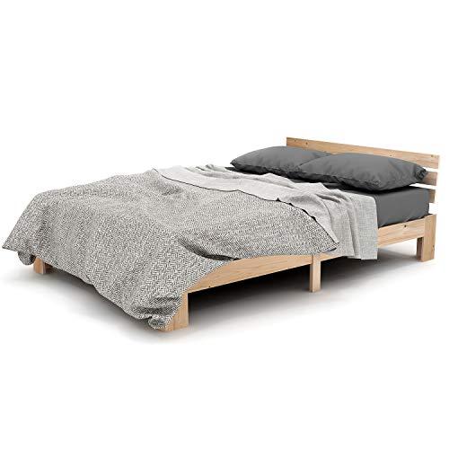 LENTIA Holzbett Bett aus Kiefernholz Massivholzbett Starkes Ehebett Stilvolles Palettenbett Buchebett 210 x 144 x 67,5 cm (Natur)