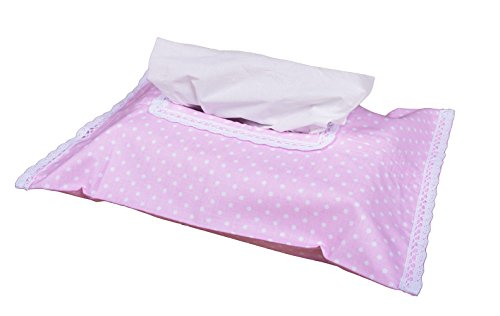 Vizaro - HÜLLE für Baby Feuchttücherbox/Pflegetücher/Mäpchen - der Handtücherschachtel - 100% BAUMWOLE - Hergestellt in der EU - SICHERES PRODUKT - K. Rosa Und Weiß