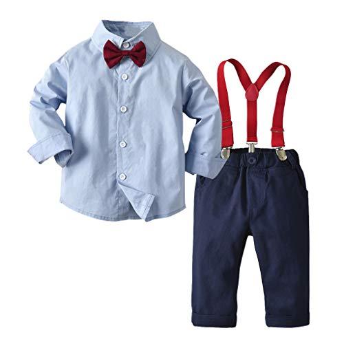 LSAltd Kleinkind Baby Jungen Mode Bowknot Krawatte einfarbig T-Shirt Tops + Hosenträger Hosen Baumwolle Gentleman Outfits Set