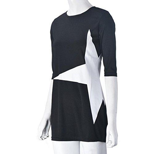 Kleid der Frauen, Amlaiworld Frauen beiläufige lose Stern gedruckte halbe  Hülsen Kurzschluss Minikleid Sport Schwarz