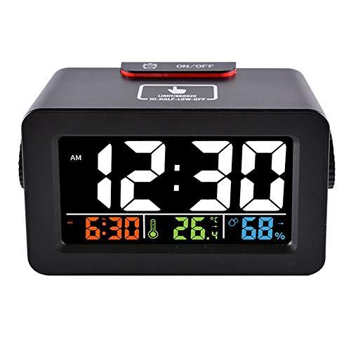 QWER Farbdisplay Temperatur- und Luftfeuchtigkeitsmesser Lichtsteuerung Innenthermometer USB Alarm Luftfeuchtigkeitsmesser Elektronische Uhr Telefon Ladegerät,Black -