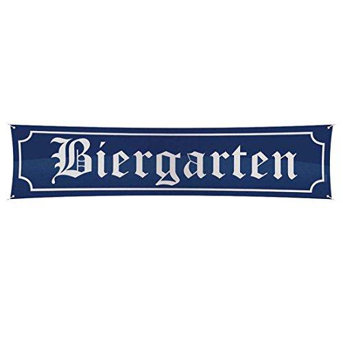 Oktoberfest Schild Biergarten 180 x 40 cm Straßenschild Deko Banner Biergartenschild Reklamebanner Bayerndeko Bayern Party Dekoration Emailleschild