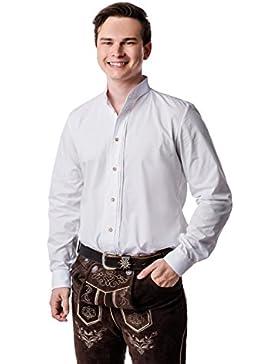 Nanenda Herren Trachtenhemd Slim Fit Weiß mit Stehkragen und Biesen zur Lederhose oder Jeans