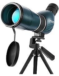 SUNCORE Longue-Vue Télescope Monoculaire Oculaire Coudé 45 ° Etanche et Anti-buée Télescopes Spotting Zoom Seul Tube Télescope Monoculaire HD avec Trépied pour la Chasse d'Observation d'Oiseaux et les Activités Sportives Extérieur