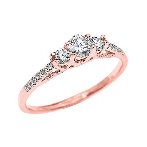 Bague Femme/ Bague De Fiançailles 10 Ct Or Rose 3 Pierre Diamant