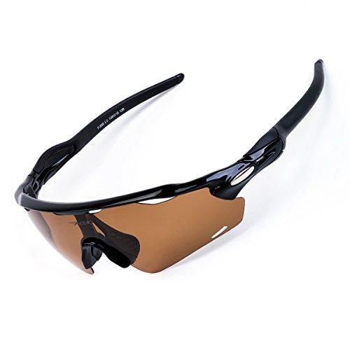 BATFOX Polarisierte Sonnenbrillen Fahrradbrille Radbrille Sportbrille Herren Damen für Radsport Fahrrad Baseball Skifahren Sport Brille mit Wechselobjektiven unzerbrechlichem Rahmen- Braun