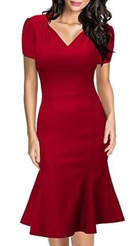 Huada Women's Flared Rockabilly Vintage Prom Bridesmaids Skater Dresses XL Red