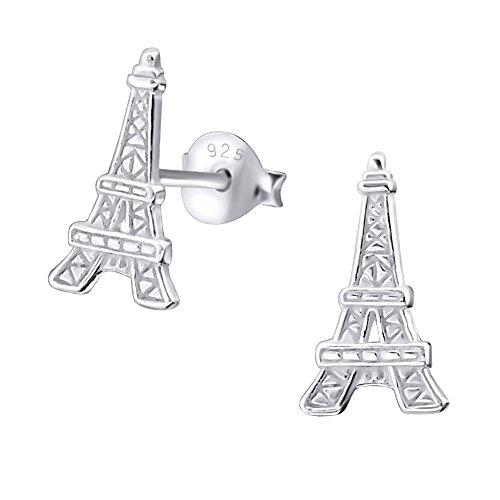 Laimons Damen-Ohrstecker Damenschmuck Eiffelturm glanz matt Sterling Silber 925 (Eiffelturm Ohrringe)