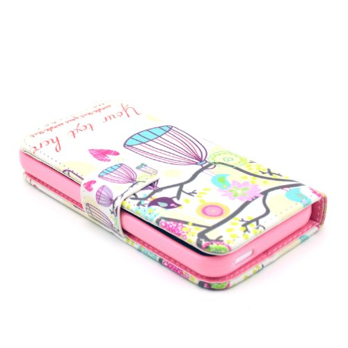 MOONCASE iPhone 5C Case Motif Conception Coque en Cuir Portefeuille Housse de Protection Étui à rabat Case pour iPhone 5C P13