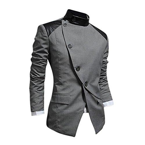 Jeansian Abiti Uomo Inverno Moda Giacca Uomo Tendenza Tuta Design Sottile Blazer 8940 Gray S