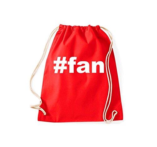 Turnbeutel #fan Hashtag Gymsack Kultsack Rot