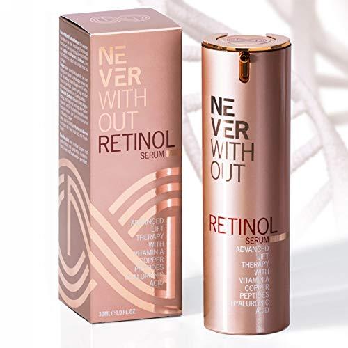 EINFÜHRUNGSPREIS - NeverWithout® Retinol Serum hochdosiert | Retinol Creme mit Hyaluronsäure & straffenden Anti Aging Peptiden reduziert Falten, Pigmentflecke, Akne - Made in Germany