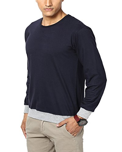 Unisopent Designs Men's Cotton T-Shirt(ROUNDNECK_Dark Navy_L)