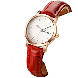 Ladies leather strap watch/Waterproof quartz watches/Simple students watch calendar-B