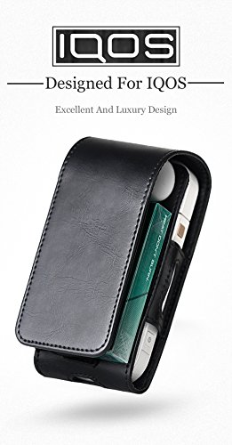 Tasche für Elektronische iQOS-Zigarette, Schutzhülle/Halterung, Platz für Geldbeutel, aus Kunstleder, mit Kartenhalter, für iQOS schwarz