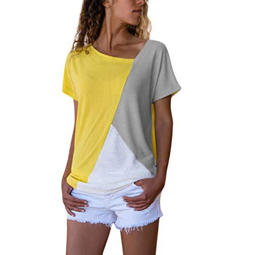 cda276df05226e Mujer Polyester Ajustado Blusa y Camisas Moda Patchwork Casual para Mujer  Color Block O-Neck