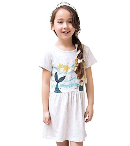 ACVIP Kinder Kurze Arme Meerjungfrau und Seestern Muster Mädchen Kleid (7-8Y) Meerjungfrau Kleid Muster