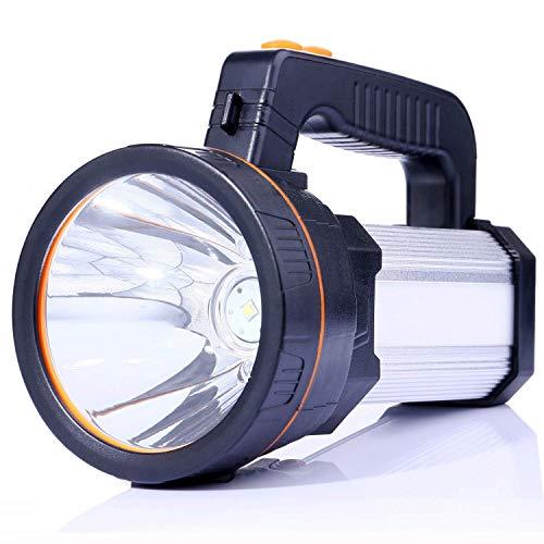 ALFLASH LED Handscheinwerfer 6000 Lumens Outdoor Led Taschenlampe 5 Model Tragbar Laterne Extrem Hell USB Wiederaufladbare CREE Akku Handlampe Arbeitsleuchte Flashlight 1 Jahr Ersatzgarantie(Silber)