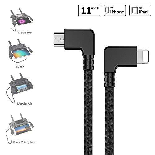 O'woda Micro USB vers iOS OTG Câble de données 【i Phone/i Pad】 Cord Nylon tressé Drone transmetteur connecteur pour DJI Mavic Pro/Mavic Pro Air/Spark/Mavic 2 Pro Zoom