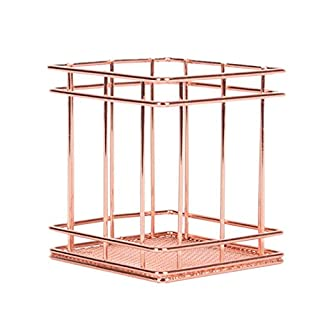 Pencil Holder,Amamary Metal Pen Pencil Holder Oval Shape Desk Stationery Organizer Wired Mesh Design Rose Gold (square)