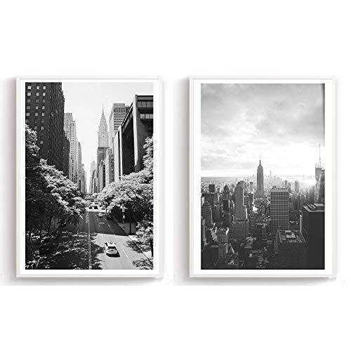 Flanacom Design-Poster Hochglanzdruck 2er Set A3 Skandinavisch - schwarz weiß Kunstdruck edel Premiumpapier Deko Wohnung 27x42cm - Motiv New York Straßen (mit Rahmen)