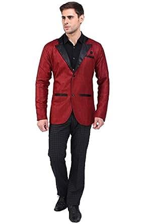 A.B.C. Garments Maroon Jute Blazer For Men