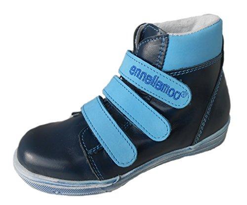ennellemoo® Enfant de Garçon de Fille-Boots chaussures de mixte en cuir véritable avec klettv ersvhluss. Entièrement en Cuir Haute Qualité pour. Taille 31–40* Barefoot Feeling * Bleu - Blau/Hellblau