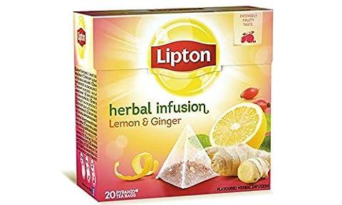 Lipton Herbal LEMON & GINGER Tea Bags - Sealed Boxes of 6 x 20 bags = 120 tea bags