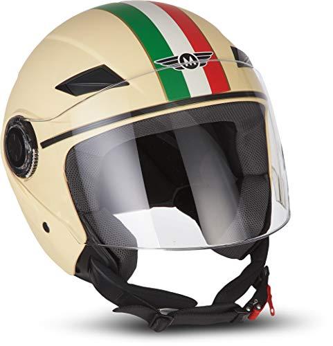"MOTO Helmets® U52 \""Venice Creme\"" · Jet-Helm · Motorrad-Helm Roller-Helm Scooter-Helm Bobber Mofa-Helm Chopper Retro Cruiser Vintage Pilot Biker Helmet · ECE Visier Schnellverschluss Tasche S (55-56cm)"