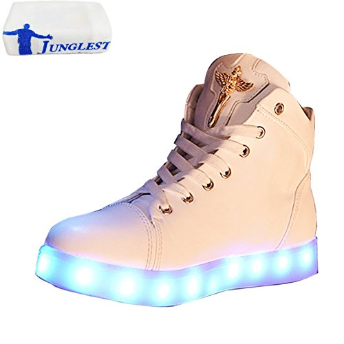 (Present:kleines Handtuch)JUNGLEST® Damen High-Top LED Light Glow Sneaker athletischen Spo Weiß
