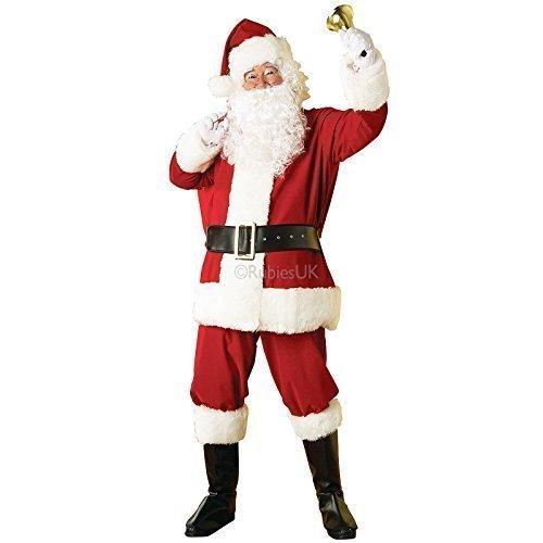 Fancy Me 8 Stück Herren deluxe edles Plüsch Weihnachtsmann Weihnachtsmann Anzug Verkleidung Kleid Kostüm Outfit STD & XL - Rot, STD