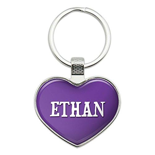 Metall Schlüsselanhänger Kette Ring lila ich liebe Herz Namen e-i Ethan (Metall Ethan)