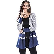 FNKDOR Cardigan Femme Automne Hiver Mode Open Front Gradient Veste Blousons Décontracté sans Col Weave Manteau