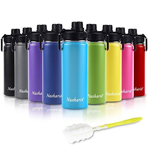 Nasharia Wasserflasche, 540ml Vakuum Isolierte Trinkflasche aus Hochwertigem Edelstahl für Das Laufen, Fitness, Yoga, Camping | Frei von BPA, Himmelblau